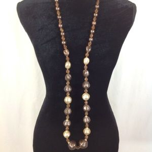 LONG VINTAGE PLASTIC BEADED NECKLACE